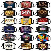 Amerikaanse voorraad 2021 Gelukkig Nieuwjaar Designer Gezichtsmasker Chrismas Party Maskers Wasbare Herbruikbare Digitale Gedrukt Protection Katoen Mannen Vrouwen Maskers