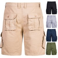Mens Cargo Shorts Fashion Trend Casual Solid Color Short Pan...