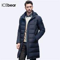 Icebear 2019 NUEVO ROPA CHAQUETAS Negocio Largo grueso abrigo de invierno hombres sólido Parka moda abrigo Outerwear LJ201218