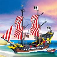 870 + PCS Big Black Black Pearl Locks Blocks Совместимость с Пиратами Корабль Просветите Блоки Пираты Образовательные Детские Игрушки Q1126
