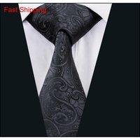 Crapica classica della cravatta di seta per gli uomini Set di cravatta nera da uomo Paisley Mens cravatta cravatta Hanky Gemelli Jacquard Tessuto Assemblea formale Qylfjw New_dhbest