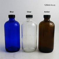 Tarjetas de almacenamiento Frascos 3 unids 120 ml Boston Botella de líquido redondo Capacidad de vidrio ámbar 4 oz con goma fenólica negra.