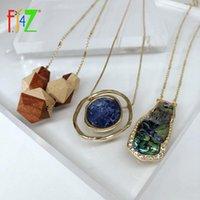 Hängsmycke Halsband F.J4Z Kvinnor Geometrisk Halsband Fashion Wood Stone Shell Fald Collar Designer Long Sweater Chain1
