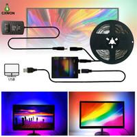 تلفزيون قطاع كيت USB حلم اللون LED قطاع 1 متر 2 متر 3 متر 4 متر 5 متر rgb ws2812b قطاع ل شاشة التلفزيون شاشة الإضاءة الخلفية شاشة الكمبيوتر