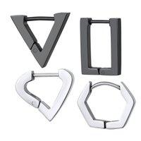 1 PC Punk Rock Triangle Square Heart Hoop Kolczyki Czarny Metal Ze Stali Nierdzewnej Geometryczne Piercing Kolczyk Kobiety Mężczyźni Jewelrye20-P
