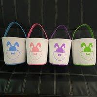 2021 سلة عيد الفصح أرنب أكياس الكرتون الأرنب الطباعة قماش حقيبة للهدايا الحلوى البيض برميل دلو الاطفال طفل لطيف حقيبة يد جميل e120905