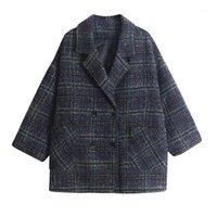 Wollmischungen der Frauen BELLA Philosophie Winter Koreanischer Mantel Frauen 2021 Vintage Woolen lose Mäntel weibliche doppelt breaked Turn-Down-Kragen