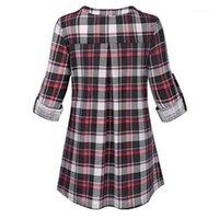 المرأة البلوزات قمصان إمرأة حجم كبير فضفاضة عارضة طويلة الأكمام الخامس الرقبة منقوشة مطبوعة قميص تونك قمم بلوزة السيدات كيميزيه فام # T1G