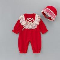 2021 جديد 1-6y طفل عيد الميلاد الملابس قطعة واحدة الدانتيل رومبير + قبعة الفتيات بذلة ملابس الأطفال حمراء 0-2Y W8KN