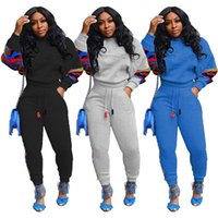 Femmes Tenue épaisse Tenues en polaire Sweatsuits 2XL Sweatsuits Vêtements d'hiver Fall Hiver Costume 2 PCS Set Sweat à capuche + Leggings 2327