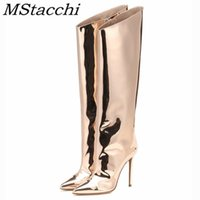 MStacchi Gold Silver Pointed Toe Bling Sexy Knee-high Classics Zipper Stiletto Autumn Spring Women Boots 201126