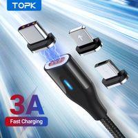 Topk Manyetik Mikro USB Tipi C Kablosu Telefon için 6 7 8 Artı 11 3A Xiaomi Cep Telefonu Kabloları için Hızlı Şarj Mıknatıs Şarj Cihazı
