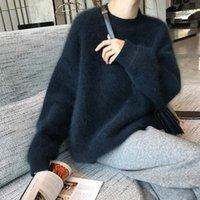 Femmes Automne Hiver Mink Cachemire Noir Pull en vrac À manches courues Collier rond épais Pulls à tricoter Jumpers1