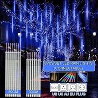 30cm  50cm Waterproof Meteor Shower Rain 8 Tube LED String Lights For Outdoor Holiday Christmas Decoration Tree EU US AU UK Plug 201030