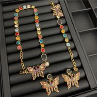 خمر فراشة الكريستال القلائد اللون أقراط الماس ترصيع العلامة التجارية رسائل مصمم سوار المرأة مجموعات مجوهرات فاخرة