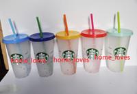 Starbucks 710ml Cambiamenti di colore Tumblers Plastica Bere succo di succo con labbra e paglia Magic Tazza da caffè Costom Colore arcobaleno che cambia plastica