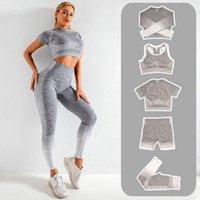 Yuerlian 2/3 / 5 stücke Spandex Hohe Taille Nahtlose Yoga Set Langarm Crop Top Gym Gitgings Workout Top Sport Strumpfhosen Sportbekleidung