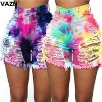 Kadın Şort Vazn Genç Moda 2021 Yaz Seksi Lady 2 Renkler Delik Renkli Yüksek Bel Burtton Streetwear