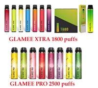 New Original Glamee Xtra Glamee Pro 일회용 vape 펜 키트 1800 2500 퍼프 1500mAh 8ml 포드 카트리지 5 % 일회용 포드 장치 공장