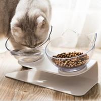 Double Cat Dog Bowls Pet Food Water Bowl Нескользящая защита от позвоночника Многоцелевой Pet Chower Bower Puble Bown Package HHA1700