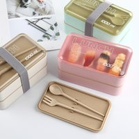 1000ml Protable Healthy Lunch Box Double Layer Wheat Straw Bento Boxes Microwave Dinnerware Food Storage Container Food Box Z1123