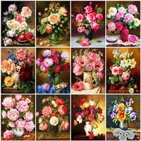 Dipinti Evershhine Diamante Ricamo Peonia Punto Croce Punto 5D FAI DA TE Pittura Rosa Flower Strass Art Decorazione muro
