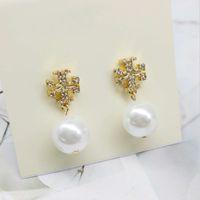 Venda quente Jóias de luxo Brincos de desenhista das mulheres Pearl Stud Brincos de Charmine Aço Inoxidável Prata de ouro com estilos de moda cinza branco