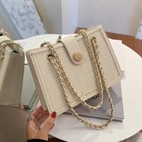 تمساح نمط مربع حمل حقيبة 2021 أزياء جديدة عالية الجودة بو الجلود المرأة مصمم حقيبة يد سلسلة حقيبة الكتف رسول حقيبة