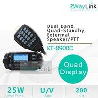 Quad-bande de 25W QYT KT-8900D Voiture mobile Radio 4 Band 136-174MHz / 400-480MHz Mise à niveau KT8900 Walkie Walkie Talkie 10 km BJ-218 BJ-3181