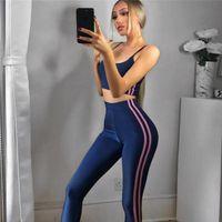 Roupas de Yoga Jinxiushirt Mulheres Fitness Sports Sets Gym Workout Sportswear 2 Pcs / Set Bra + Impresso Calças Esporte Leggings Ternits