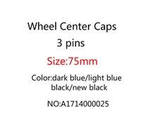 Car Styling 40 PZ 75mm 3 PIN Blu scuro Blu Full Nero Car Ruota Centro Hub Caps Cover Cap Badge Emblem per CLA CLS A1714000025 Accessori per auto