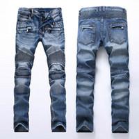 남성 디자인을위한 새로운 청바지 Jeans Moto 지퍼 플라이 홀 바이커 락 부흥 패치 워크 스웨트 팬츠화물 바지