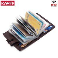 Kavis وظيفة جلد طبيعي بطاقات الائتمان حامل محفظة متعددة الوظائف معرف محفظة صغيرة الرجال عملة محفظة سليم بطاقات الذكور البسيطة