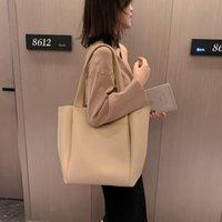 Designer- Simple Casual Handbags Women Female Bucket Leather Designer Shoulder Bags White Black Large Tote Bag Capacity Lianquan001 Pqjha