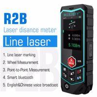 Milesey Smart Bluetooth Laser Distance Distance Compteur USB Rechargeable RangeFinder Laser Gamme Laser Roue Laser Ligne Niveau R2 / R2B T200603