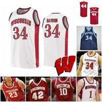 Benutzerdefinierte Wisconsin Badgers Basketball Jersey NCAA College Aleem Ford d'Mitrik Trice Brevin Pritzl Walt McGrory Hedstrom Potter Finley Harris