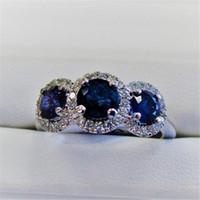 Classical Cocktail Jewelry 925 Sterling Silver Tres Stone Blue Sapphire CZ Diamond Gemstones Party Mujeres de la boda Regalo de la banda de la boda