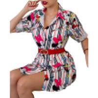 Femmes automne à manches longues imprimer mode de mode robe de bureaux de bureau robe de chemise occasionnelle Midi Vestidos Robe Plus Taille