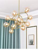 현대 글로벌 유리 샹들리에 램프 빛 노르딕 거품 펜던트 교수형 거실 고정물 램프