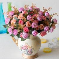 Fiori decorativi Corone 21 Testa / Bouquet Seta Rosa Rosa Europeo Fiore Artificiale Fiore di Alta Qualità Bouquet FAKE Wedding Home Party Decora