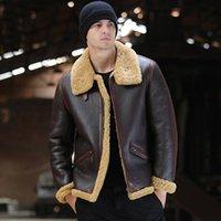 Couro masculino Faux Sani Sheepskin Fur Shearling Casaco Marrom Real Digno Inverno Quente Natural Casacos para homens