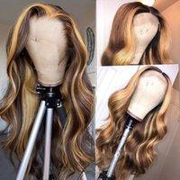 Body Wave Human Hair Parrucca Miele Bionda Ombre 13x1 Brazilian Brown Color Acqua profonda Wave HD Full Frontal Hight Hight Bob Pizzo Parrucche anteriori in pizzo