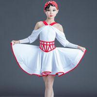Etapa de desgaste 2021 Vestido de baile latino para niñas Ropa de rendimiento Niños Blanco sin tirantes de práctica para niños Disfraces
