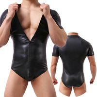 Mens Undershirts PU Couro Wetlook Zipper Jumpsuits PVC Catsuit One-peça Bodysuits Wrestling Singlet Leotard Dance Clubwear