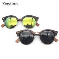Óculos de sol LD19 Natural Natural Frame redondo ponte de metal de madeira artesanal espelho polarizado lentes de revestimento de eyewear