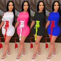 Новые женские моды кружевны повседневный домашний цвет контрастное платье тонкие короткие рукава повязки дизайнерские многоцветные платья