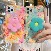 Vintage Sevimli Çiçek Yaprakları Standı Tutucu Kılıf Iphone 11 12 11Pro Max XR XS Max X 7 8 Artı 11Pro SE 2020 Katlanır Braketi Kapak