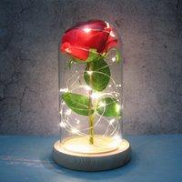LED artificial eterno rosa de folha de ouro flor com luzes de cordas feericamente na cúpula para o presente de dia dos namorados do Natal W-00531