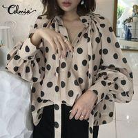 Celmia Vintage Chemisier Femmes Lanterne Sleeve Casual Polka Dot Chemise Plus Taille Top Top Tunique Tunique Stand Collier Cravate Bow Blusa T200322