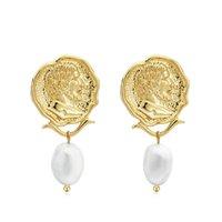 Varole Vintage gravierte Münzen Drop baumeln Ohrringe für Frauen Figure Gesicht Nature Pearls Anhänger Ohrring Schmuck Brinco